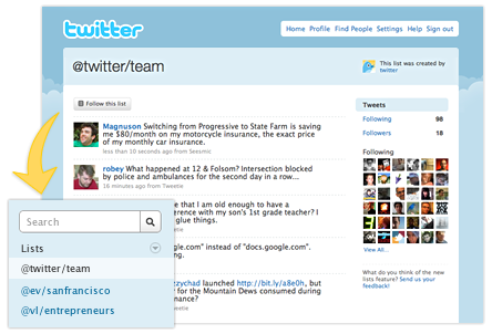 Twitter lists example