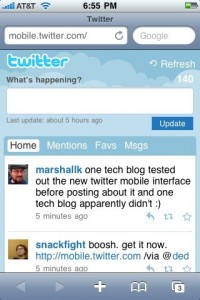 New Twitter mobile interface