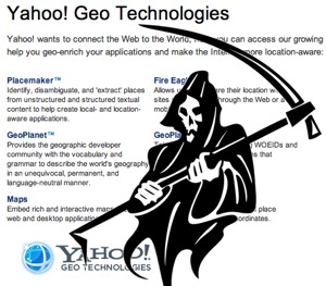 Yahoo Maps API: So Long, Old Friend | ProgrammableWeb on windows maps, yahoo! groups, web mapping, apple maps, trade show maps, usa today maps, bloomberg maps, gulliver's travels maps, yahoo! video, brazil maps, mapquest maps, bing maps, nokia maps, yahoo! mail, yahoo! directory, yahoo meme, yahoo! news, yahoo! sports, yahoo! widget engine, zillow maps, live maps, yahoo! search, microsoft maps, google maps, expedia maps, msn maps, cia world factbook maps, rim maps, goodle maps,